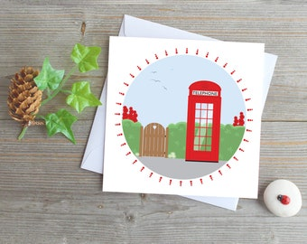 UK red phone box greeting card vintage phone box England phone box country scene London phone box card call me phone me stay in touch