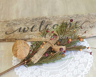 Christmas Pick, Country Pine Berry Pick, Berries & Burlap, Christmas Floral, Floral Picks, Pine Stems, Holiday Decor