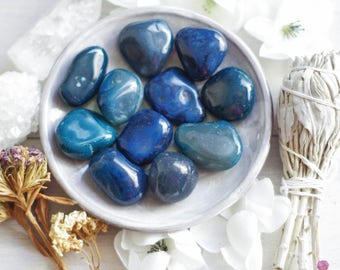 Blue Agate - Prosperity Stone - Healing Stones - Strength Stones - Tumbled Gemstones - Meditation Stones - Pocket Stones - Loose Stones