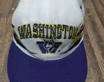 Vintage Washington Huskies Hat Cap Snap Strap Back Diamond cuts logo Rare