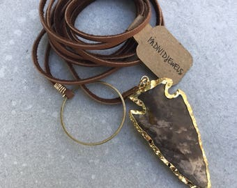Arrowhead leather lariat necklace, Leather or suede wrap choker necklace