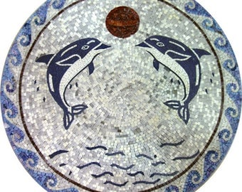 Round Medallion Synthetic Blue Dolphins Fun Summer Marble Mosaic MD484