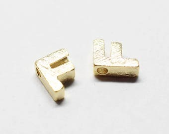 P0721/Anti-Tarnished Gold Plating Over Brass /Brushed Mini Alphabet Charm/4.8x7mm/2pcs