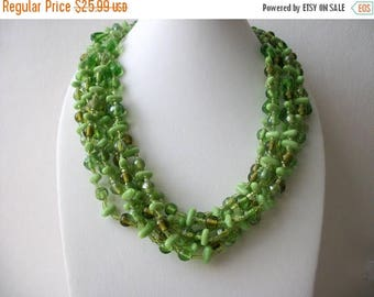 ON SALE Retro Green Glass Chunky Multi Strand Necklace 61717