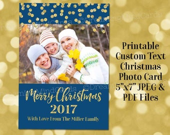 Printable Custom Holiday Photo Cards Gold Glitter Confetti Navy Blue Merry Christmas 2017 Digital Card