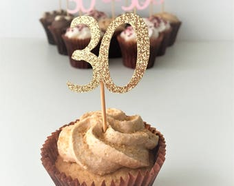 Cupcake Thirty Toppers, Thirtieth Birthday, 30th, 10 cake toppers, Party Decoration, Glitter Picks, Customised, Party Accessories
