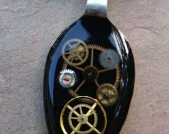vintage epns resin spoon pendants with antique watch parts / black contrast