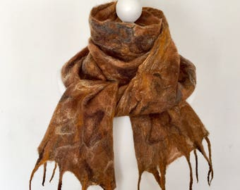 Merino Wool Felted Scarf   Merino Wool Shawl  Wet Felted Scarf