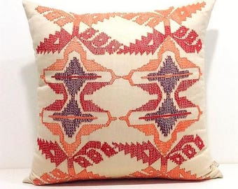 Embroidered Kilim Pillow,Geometric Pillow,Modern Kilim Pillow Cover,Decorative Pillows For Couch,Hand Embroidered Pillow,Designer Pillows