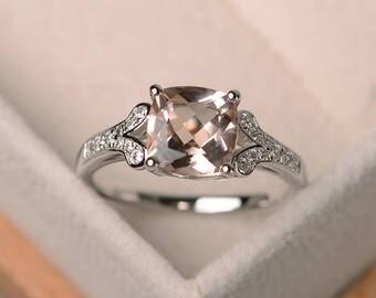 genuine natural morganite ring, cushion cut engagement promise ring, sterling silver ring,pink gemstone ring