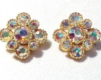Vintage Aurora Borealis Rhinestone Clip Earrings