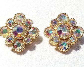 WOW SALE : Vintage Aurora Borealis Rhinestone Clip Earrings