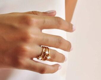 Starburst, Starburst Ring, Minimalist Ring, Gold Ring, Dainty Ring, Ring,  Stackable Ring, Minimalist Ring, Midi Ring, Gold Stacking Ring