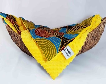 Yellow minky dot African baby blanket & pillow set