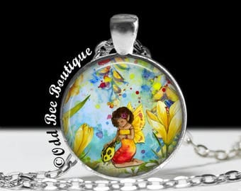 """Fairy Necklace - Pixie, Nymph, Watercolor Painting Style, Woodland, Fantasy, Faery, Wiccan, Pagan Jewelry - 1"""" Silver and Glass Pendant"""