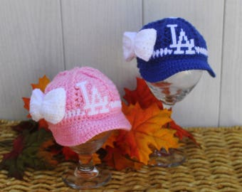 Girls Baby Pink BASEBALL Hat, Kids Ball Cap, Baby girl hat, Los Angeles DODGERS inspired (Handmade by me and not affiliated with the MLB)
