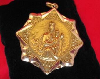 Roman Catholic Sacred Heart Jesus/Our Lady of Mt. Carmel Pendent