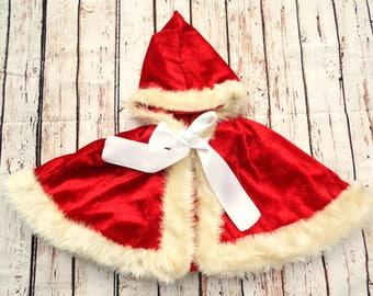Girls Velvet Cape - Princess Cape - Red Velvet Cape - Pixie Cape - Xmas Cape - Red Riding Hood - Hooded Girls Cape - Fur Trim Cape
