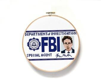 X Files Cross Stitch Pattern (PDF) | Fox Mulder ID