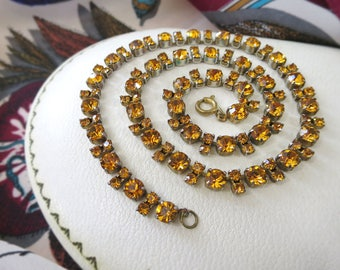 1950's Vintage Amber Rhinestone Necklace – Claw-Set Art Deco Amber Glass Choker Necklace – Vintage Rhinestone Collar Necklace