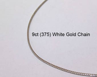 9ct 375 Solid White Gold Franco Chain Necklace for Pendant Jewellery - PS72