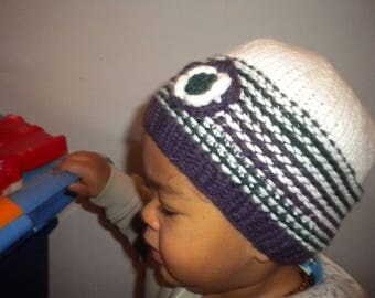BEANIE hand knit cotton multicolored baby