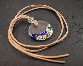 Multicolor Murano glass pendant necklace unique gift for women - Unique jewelry italian contemporary necklace