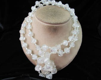 Vintage Long Chunky Clear Beaded Necklace