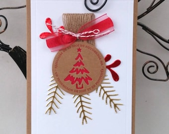 Holiday season - Christmas ball - pine Branches and mistletoe card