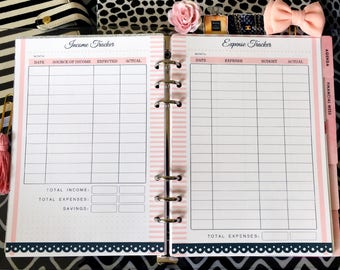 A5 Printed Planner Inserts - Finance Planner - Savings Tracker - Expense - Income - Filofax A5 - Kikki K Large - Design: Mademoiselle