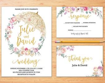 Blumen Hochzeit Einladung Druckbare Hochzeit Einladung Suite Rustikale  Hochzeit Laden Boho Hochzeit Laden Rosen Hochzeit Einladen