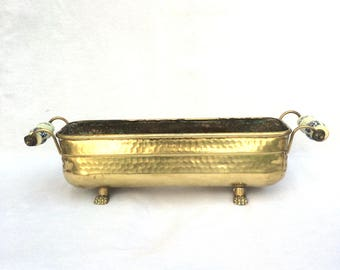 """Hand Beaten Brass Planter, Delft Porcelain Handles, Claw Footed, Rectangular Oval Shaped Jardiniere, Good Condition, 16.5"""" x 4"""" x 4.5"""""""