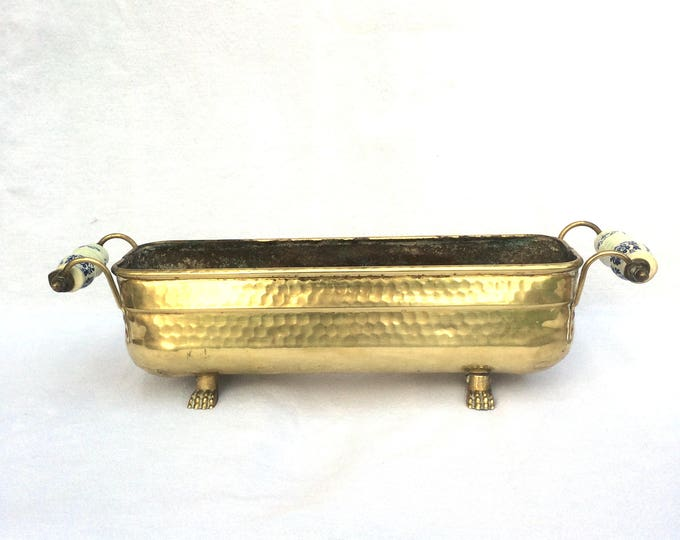 "Hand Beaten Brass Planter, Delft Porcelain Handles, Claw Footed, Rectangular Oval Shaped Jardiniere, Good Condition, 16.5"" x 4"" x 4.5"""