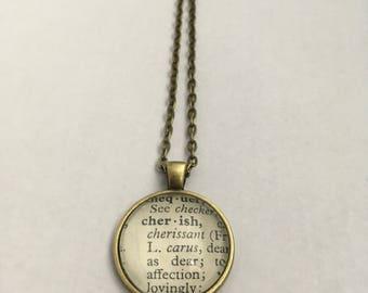 CHERISH Vintage Dictionary Word Pendant
