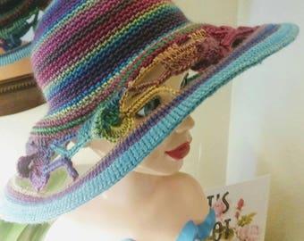Multi colored elephant brimmed hat. Crochet hat.