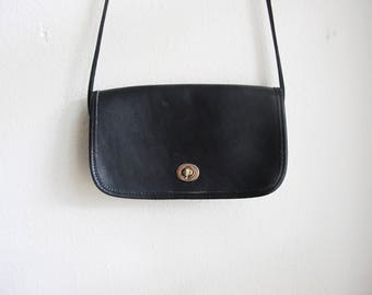 Black Leather Coach Style Shoulder Bag