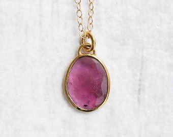 Pink Tourmaline Necklace - Rose Cut Slice - Gold Vermeil - Gemstone Necklace