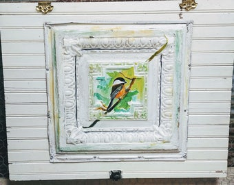 Hand painted ceiling tile with a bird