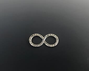 Infinity Link, Sterling Silver, Textured