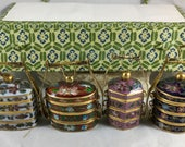 Set of Miniature Enamel and Glass Chinese Cloisonne Wedding Boxes, Blue Glass Floral Stackable Pill or Snuff Boxes in Carrying Case