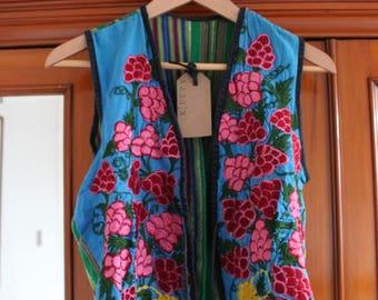 Vintage 1970s Handmade Embroidered Waistcoat Hippie Jacket S 8 10