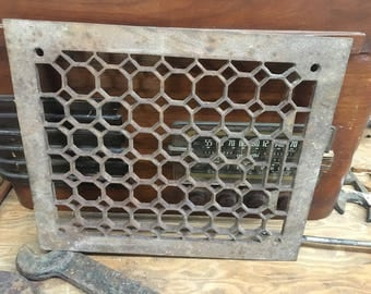 Antique Cast Iron Floor Grate fits 10 x 12 venting 13 5/8 x 11 1/2