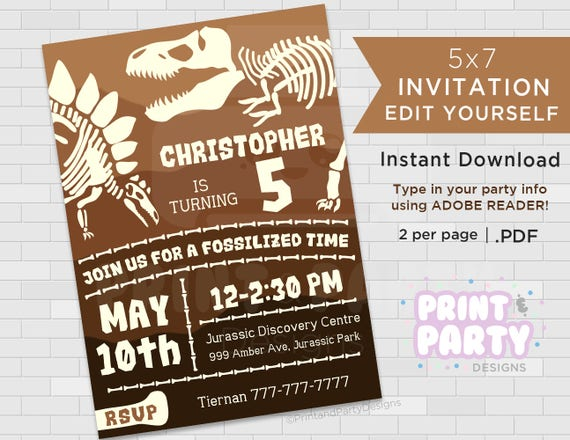 Printable boys dinosaur fossil birthday party printable boys dinosaur fossil birthday party invitations dinosaur birthday party dinosaur fossil party edit yourself instant download solutioingenieria Images