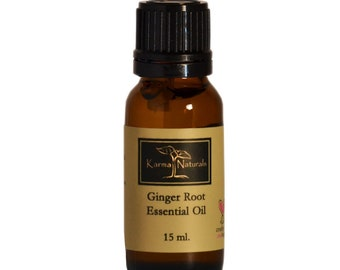 Karma Organic's Ginger Root Essential Oil : 100% Pure Therapeutic Grade (15 ml)