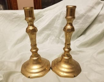 """Pair of solid brass candle sticks 8"""""""