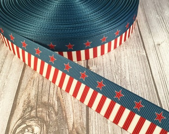 America ribbon - Military ribbon - USA ribbon - Stars and stripes - Red white blue - Grosgrain ribbon - 4th of July ribbon - Craft supplies