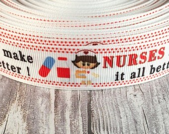 Nurses rock - Nurses make it all better - Nurse ribbon - RN ribbon - LPN ribbon - Nurse bow DIY - Hair bow diy - I love nurses - Hug a nurse