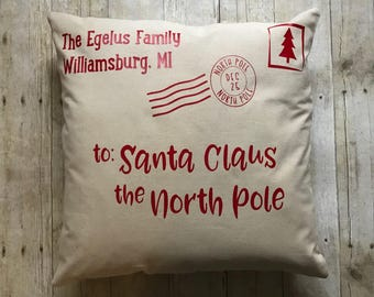 Personalized Christmas pillow- santa pillow- Christmas pillow- santa letter- personalized santa pillow- personalized pillow- Christmas