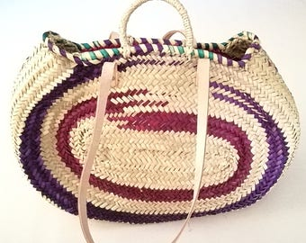 Palm oval handbag decorated in Maroon and purple