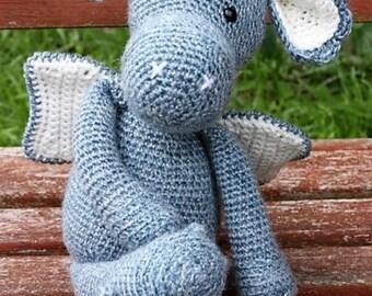 Bespoke Handmade Crochet Amigurumi Dragon Soft Toy